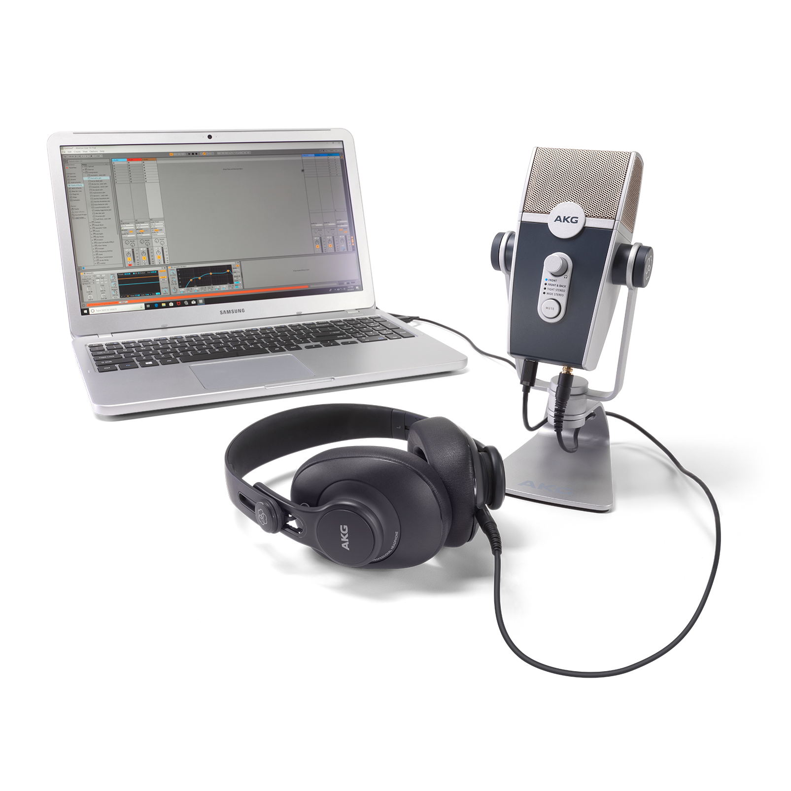 AKG Podcaster Essentials - Black / Gray - Audio Production Toolkit: AKG Lyra USB Microphone and AKG K371 Headphones - Detailshot 2